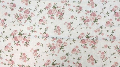 Σεντόνι Floral Σομόν, 100% Βαμβακερός Χασές (Ελληνικής Ραφής)