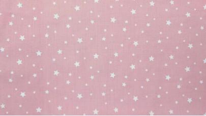 Σεντόνι Αστεράκια Ροζ,100% Βαμβακερός Χασές, Μονό 1,50μ x 240μ (Ελληνικής Ραφής)
