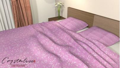 Σετ Σεντόνι Μονό, με Μαξιλαροθήκη Floral Ροζ - Φούξια, 1,50μ Χ 2,60μ