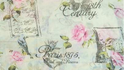"""Λινό πολυεστερικό με Λουλούδια Ροζ, Πράσινο, Εκρού Φόντο, """"Paris1875"""""""