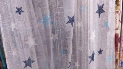 Λινό πολυεστερικό με Αστέρια Μπλέ - Γαλάζιο - του Πάγου, με φόντο γαλάζιο