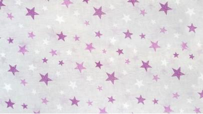 Λινό πολυεστερικό με Αστέρια Λιλά - Μώβ - του Πάγου, με φόντο μπέζ