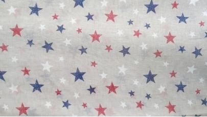 Λινό πολυεστερικό με Αστέρια Μπλέ - Κόκκινο - του Πάγου, με φόντο μπέζ