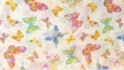 Λινό πολυεστερικό με Πολύχρωμες Πεταλούδες