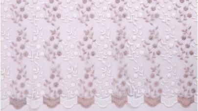 Τούλι Κεντημένο ΝοB13483/005 Ροζ της Πούδρας & Του Πάγου (Διχρωμία)