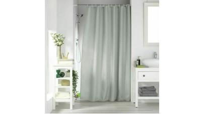 Κουρτίνα μπάνιου Flamingo Quartz 180x200cm μονόχρωμη Jaquared με κρίκους 100% polyester Light Grey (Γκρι Ανοιχτό)
