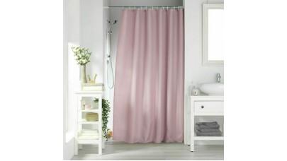 Κουρτίνα μπάνιου Flamingo Quartz 180x200cm μονόχρωμη Jaquared με κρίκους 100% polyester Pink (Ροζ)
