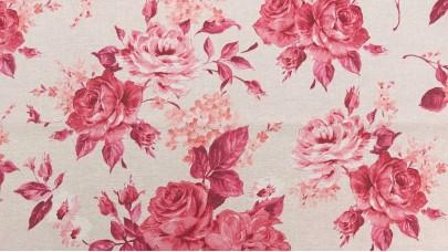 Καραβόπανο (λονέτα) Εμπριμέ - Λουλούδια Ροζ και Σομόν