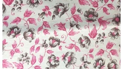 Καραβόπανο (λονέτα) Εμπριμέ - Λουλούδια Ροζ και Γκρί