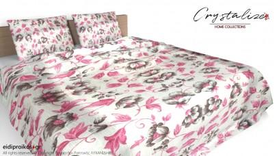 Κάλυμμα/Ριχτάρι Κρεβατιού με ή χωρίς Μαξιλαροθήκες 240x 250 Ροζ και Γκρι Λουλούδια