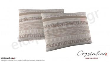 Μαξιλαροθήκη Ύπνου Beige Lines 50x70 - Crystalize Home Collections