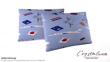 Μαξιλαροθήκη Ύπνου Παιδικό Γαλάζιο Αεροπλάνα 50x70 - Crystalize Home Collections