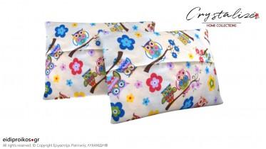 Μαξιλαροθήκη Διακόσμησης Ορθογώνια Πολύχρωμες Κουκουβάγιες από Καραβόπανο