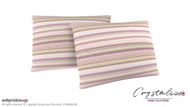 Μαξιλαροθήκη Διακόσμησης Ορθογώνια Ριγέ Λιλά-Λαχανί-Εκρού από Καραβόπανο Νηματοβαφής