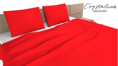 Σεντόνι Μονόχρωμο Κόκκινο, 100% Βαμβακερός Χασές (Ελληνικής Ραφής)