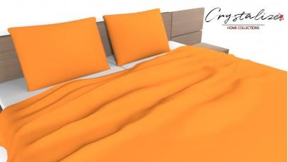 Σεντόνι Μονόχρωμο Πορτοκαλί, 100% Βαμβακερός Χασές (Ελληνικής Ραφής)