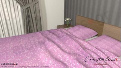 Σετ Σεντόνι Διπλό, με Μαξιλαροθήκες Floral Ροζ - Φούξια, 2.00μ Χ 2,60μ