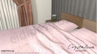 Σετ Σεντόνι Διπλό, με Μαξιλαροθήκες Floral Ροζ, 2.00μ Χ 2,60μ