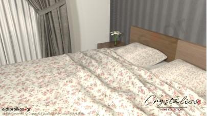 Σετ Σεντόνι Διπλό, με Μαξιλαροθήκες Floral Σομόν, 2,00μ Χ 2,60μ